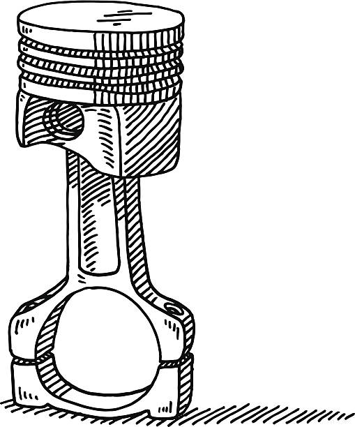 Connecting Rod With Piston Drawing Hand-drawn vector drawing of a Connecting Rod With a Piston. Black-and-White sketch on a transparent background (.eps-file). Included files are EPS (v10) and Hi-Res JPG. motor sport stock illustrations