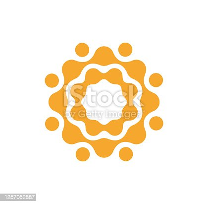 undefinedConnection circles logo template, abstract orange sun icon. Flat minimal dotted style emblem. Concept logotype design for business and startup