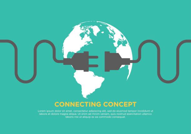 Connection concept flat design vector illustration Connection concept flat design, global connecting, vector illustration computer cable stock illustrations