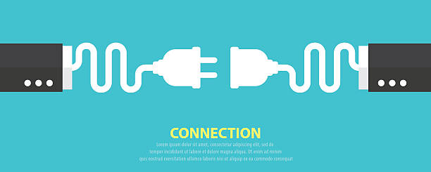 Connection concept Plug and socket business hand on blue background.Vector illustration. Connection concept. Flat and minimal design wired stock illustrations