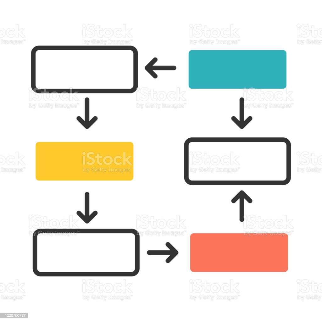 Connection Diagram Color Icon Wiring Chart Progress Stages Presentation Process Steps Visualization Network Diagram With Rectangular Shapes Closed Cycle Report Isolated Vector Illustration Stock Illustration Download Image Now Istock