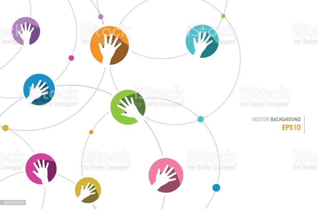 Connection Human Hands vector art illustration