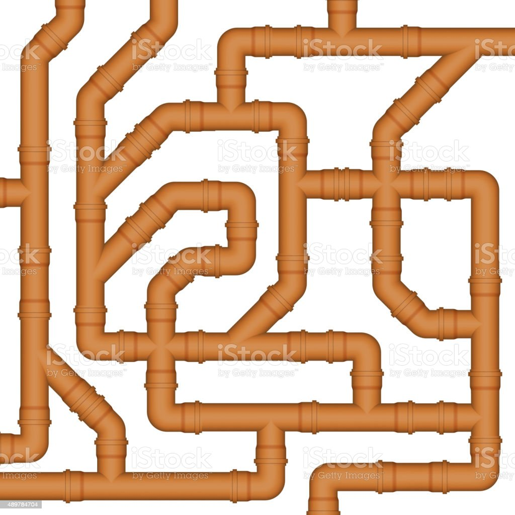 Connection of orange plastic sewer pipes. vector art illustration