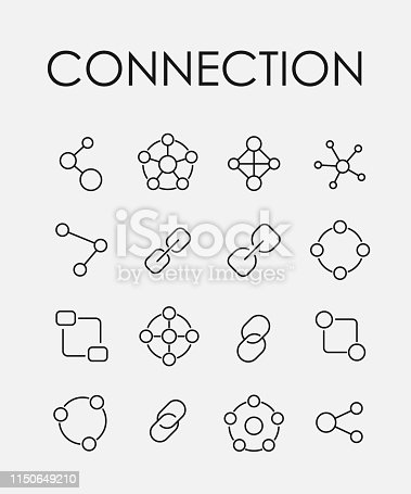 Connection related vector icon set. Well-crafted sign in thin line style with editable stroke. Vector symbols isolated on a white background. Simple pictograms