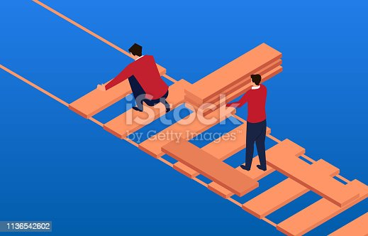 connection,Two businessmen use wood to build bridge