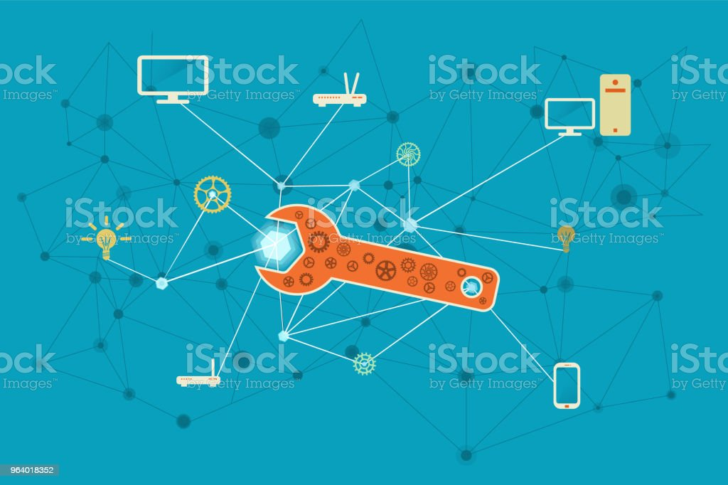 Connectivity problem solving for IT networks conceptual illustration - Royalty-free Assistance stock vector