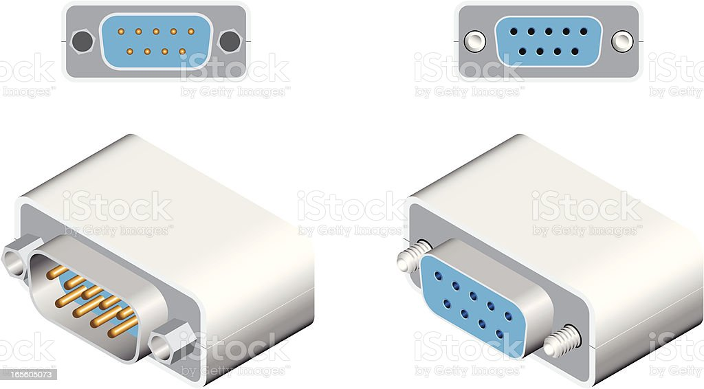 RS232 Connector royalty-free rs232 connector stock vector art & more images of backgrounds
