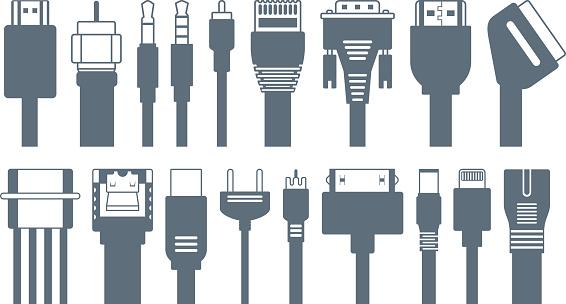 Connectors, jacks, cables - computer icons
