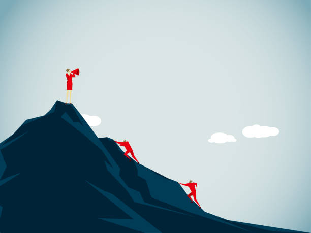 conquering adversity Illustration and Painting mountain climbing stock illustrations