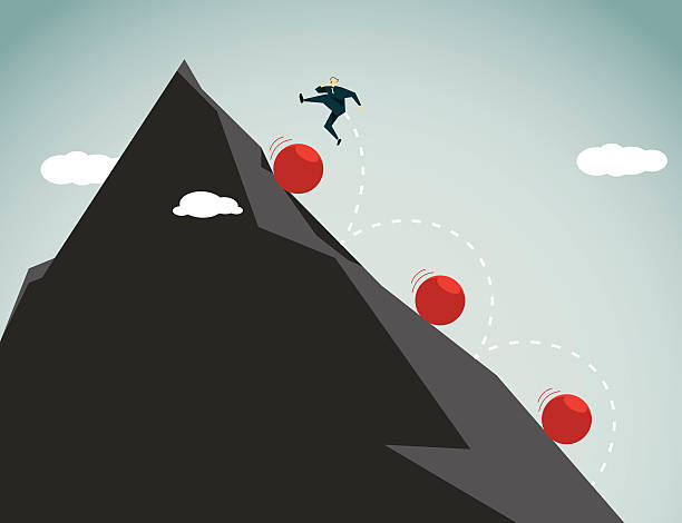 conquering adversity-illustration - mountain top stock illustrations
