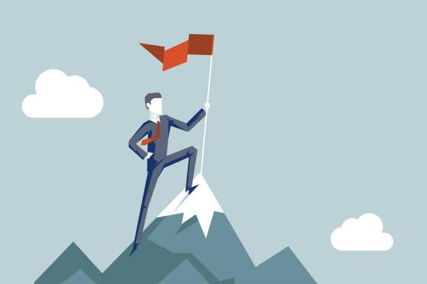 ilustrações, clipart, desenhos animados e ícones de conquistando alturas bandeira homem de negócios conquistador caráter conquista top point aoal montanha fundo conceito de negócio projeto plano vector ilustração - explorador