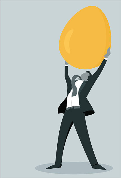 Conquering Retirement Vector illustration of a man holding a golden egg above his head. Great for retirement, financial planning, and nest egg themes.   nest egg stock illustrations
