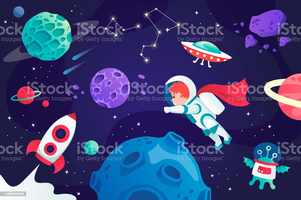 Conquest Of Space Cartoon Universe Vector Illustration