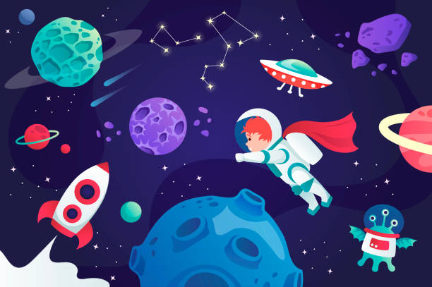 conquest of space. cartoon universe. vector illustration. planets and spaceship. child. - space background stock illustrations
