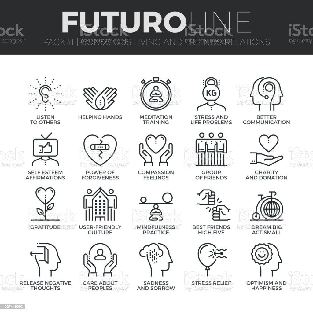 Ilustración de Consciente De La Vida Futuro Línea Icons Set y más