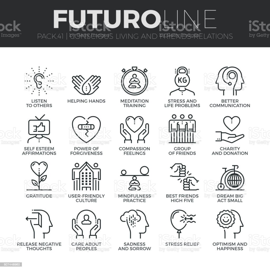 Conscious Living Futuro Line Icons Set vector art illustration