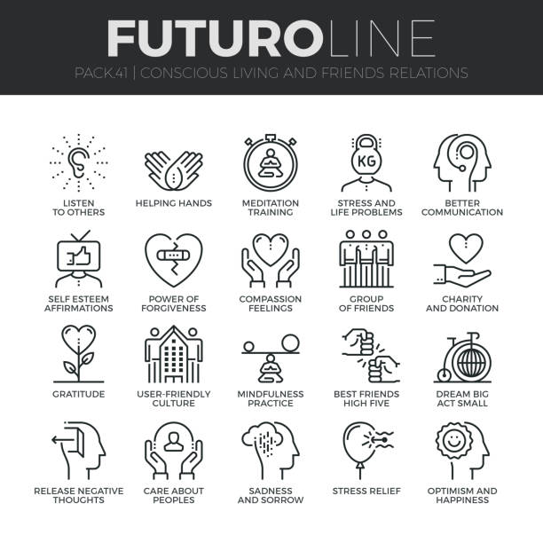 Conscious Living Futuro Line Icons Set Modern thin line icons set of conscious living, friends relations and emotions. Premium quality outline symbol collection. Simple mono linear pictogram pack. Stroke vector  concept for web graphics. confidence stock illustrations