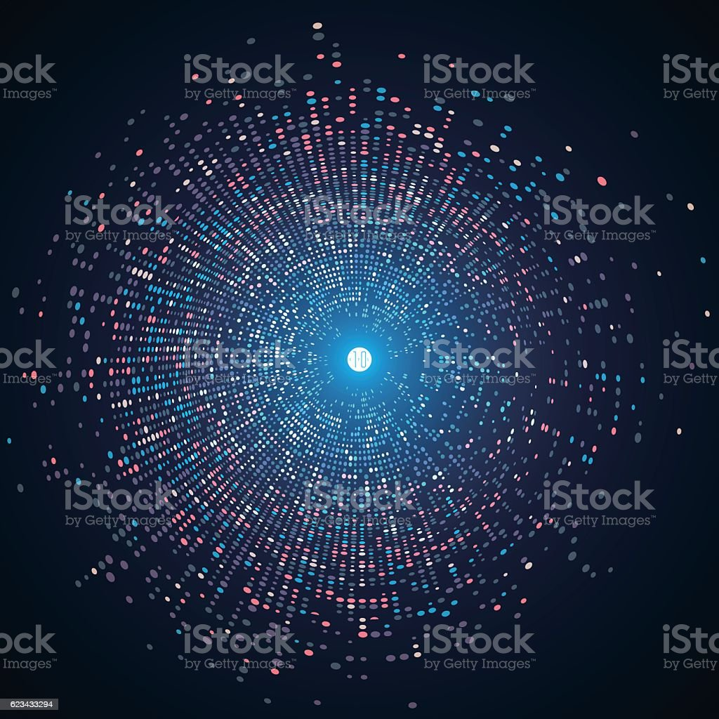 Consisting of colorful little, radial graphics, abstract background. vector art illustration