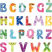 Consonants of the Latin alphabet like different monsters