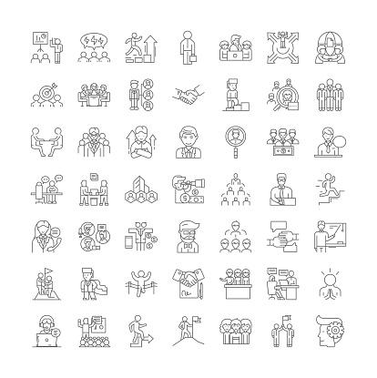 Consortium linear icons, signs, symbols vector line illustration set