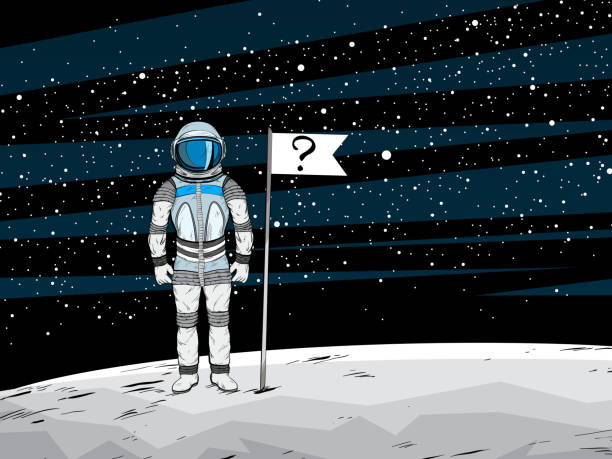 conspiracy theory. astronaut with unrecognizable flag on lunar surface - conspiracy stock illustrations