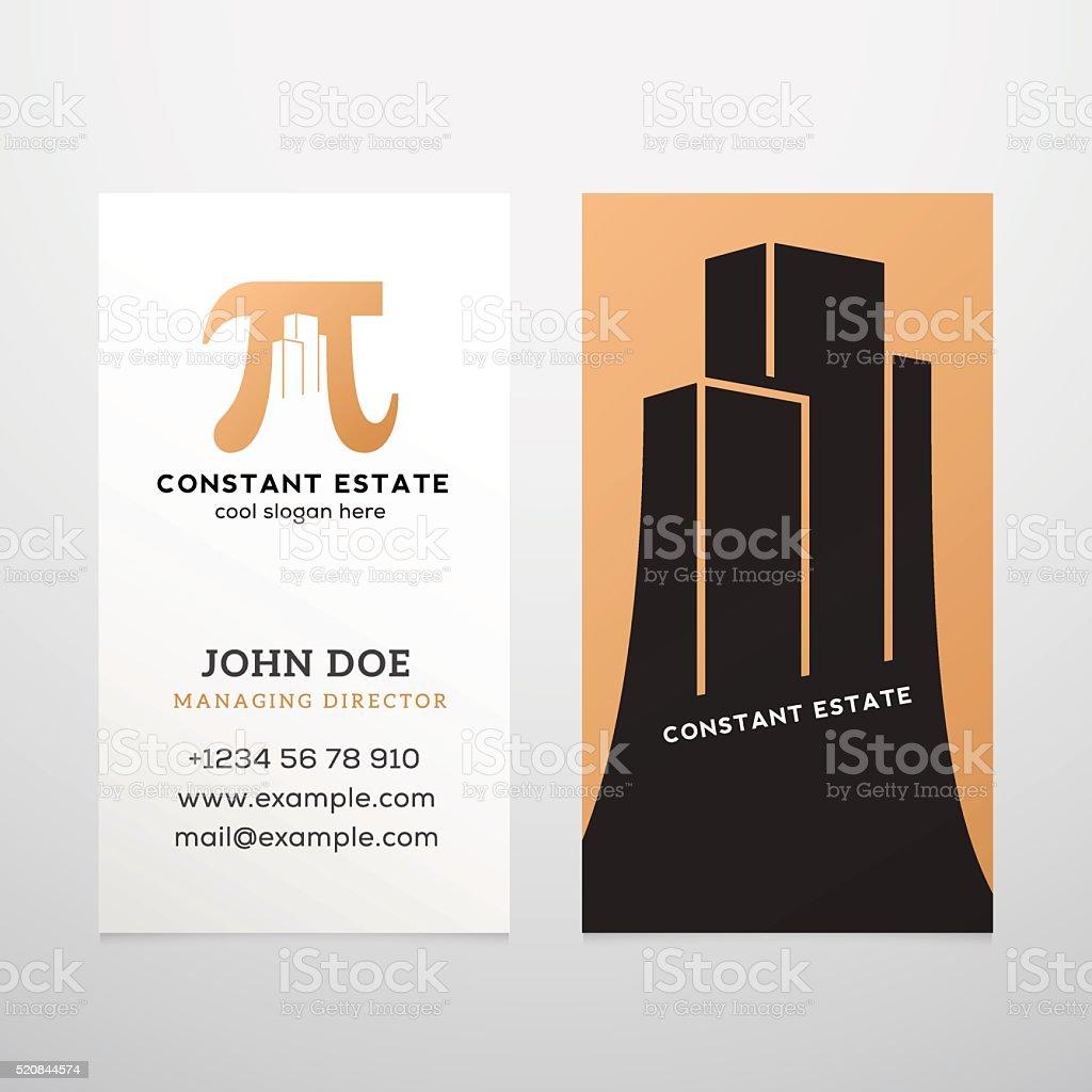Constante Immobilier Resume Vector Modele De Carte Visite Pi Panneau Avec