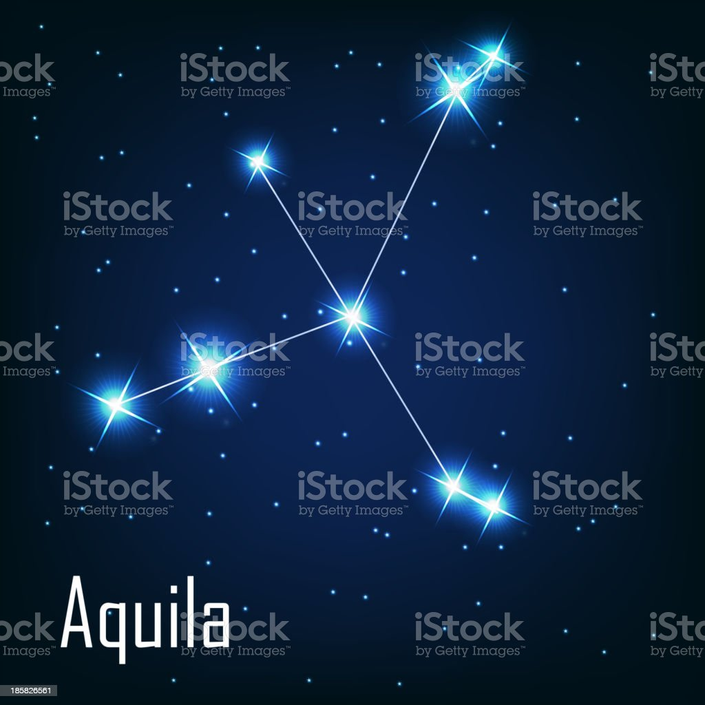 constellation 'Aquila' star in the night sky. Vector illustr royalty-free stock vector art