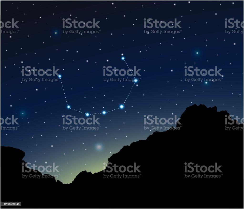 Constellation Corona Borealis In Night Sky Stock Illustration Download Image Now Istock