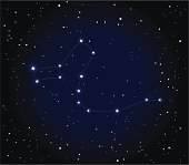 Constellation on the starry sky. Dragon.