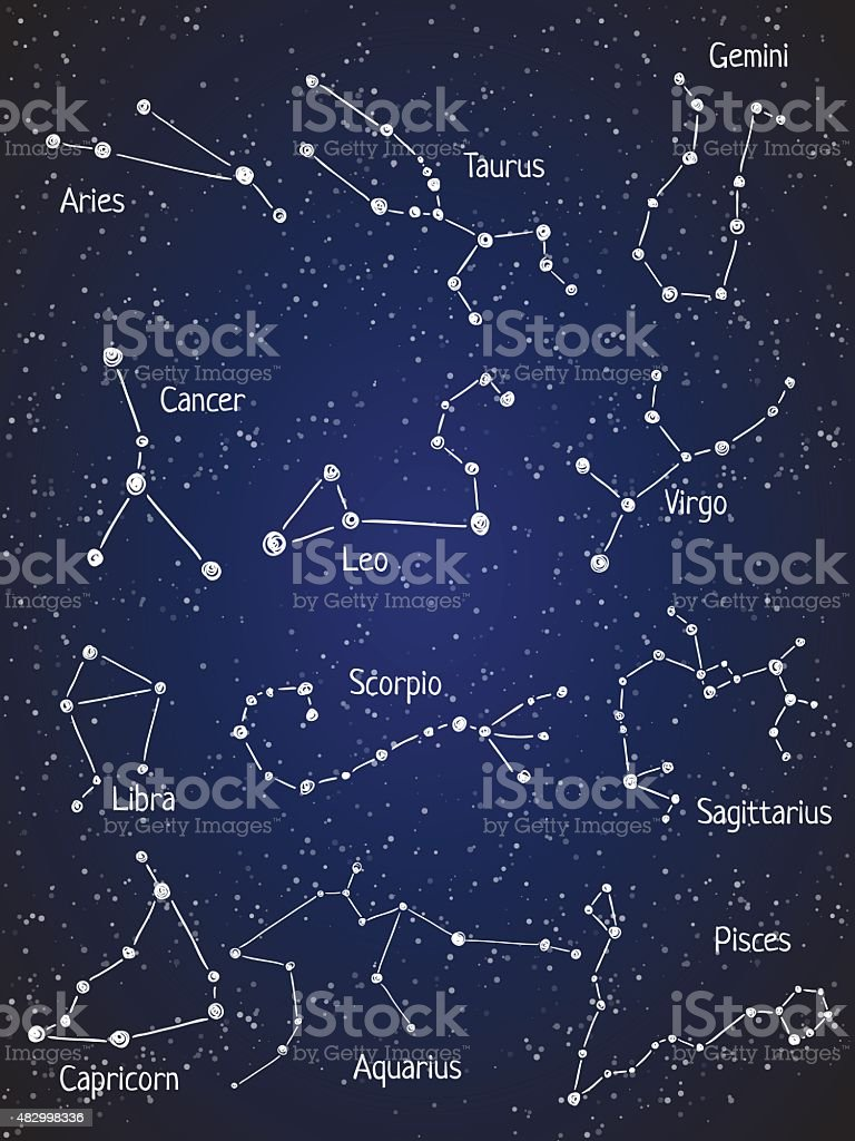Constellation set vector art illustration