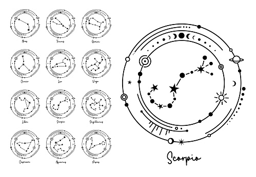 Constellations astrological symbols. Vector zodiac signs silhouette.