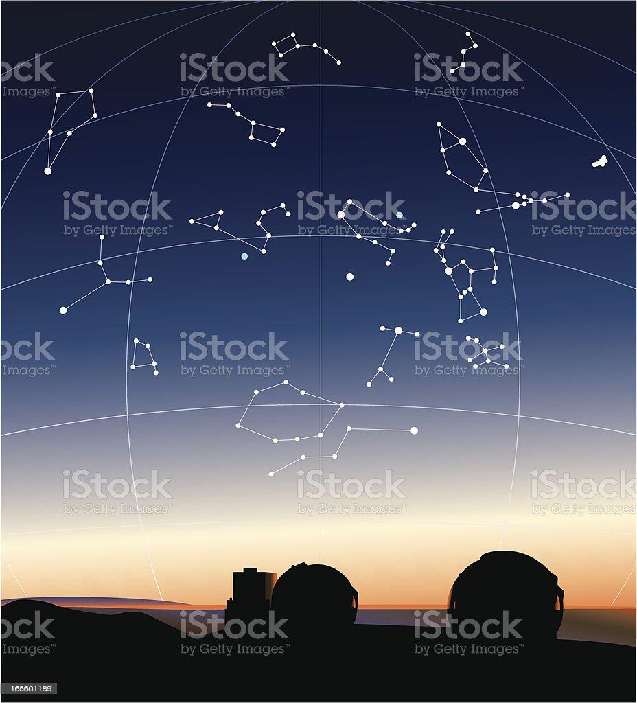 Constellations in the Hawaiian sky vector art illustration