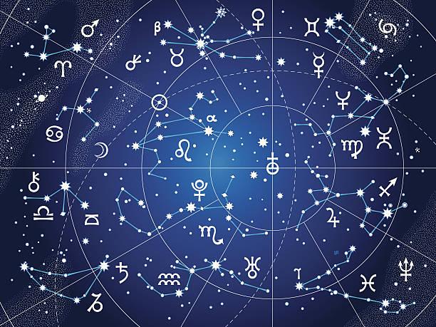 ilustrações de stock, clip art, desenhos animados e ícones de xii constelações do zodíaco (ultravioleta cópia heliográfica versão) - mapa das estrelas
