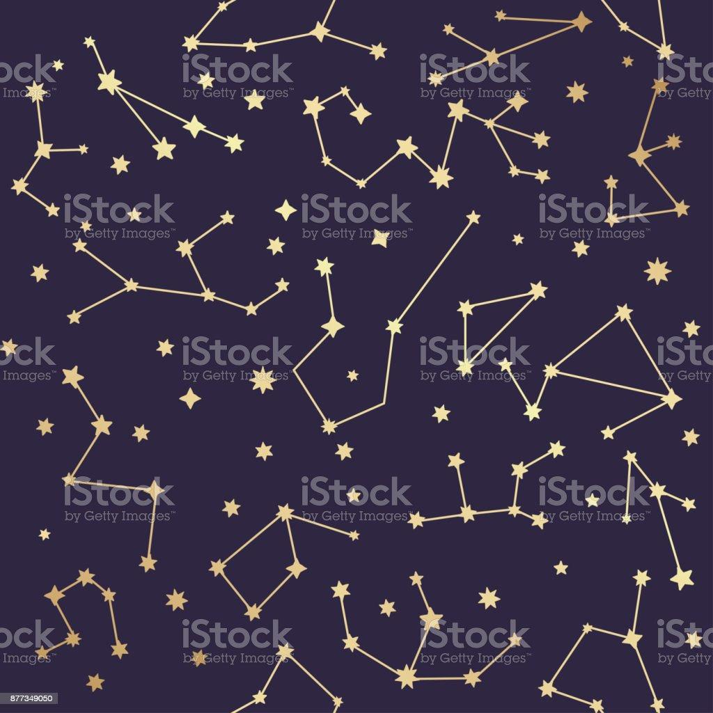 Constellations seamless pattern. Golden stars. Vector illustration. vector art illustration