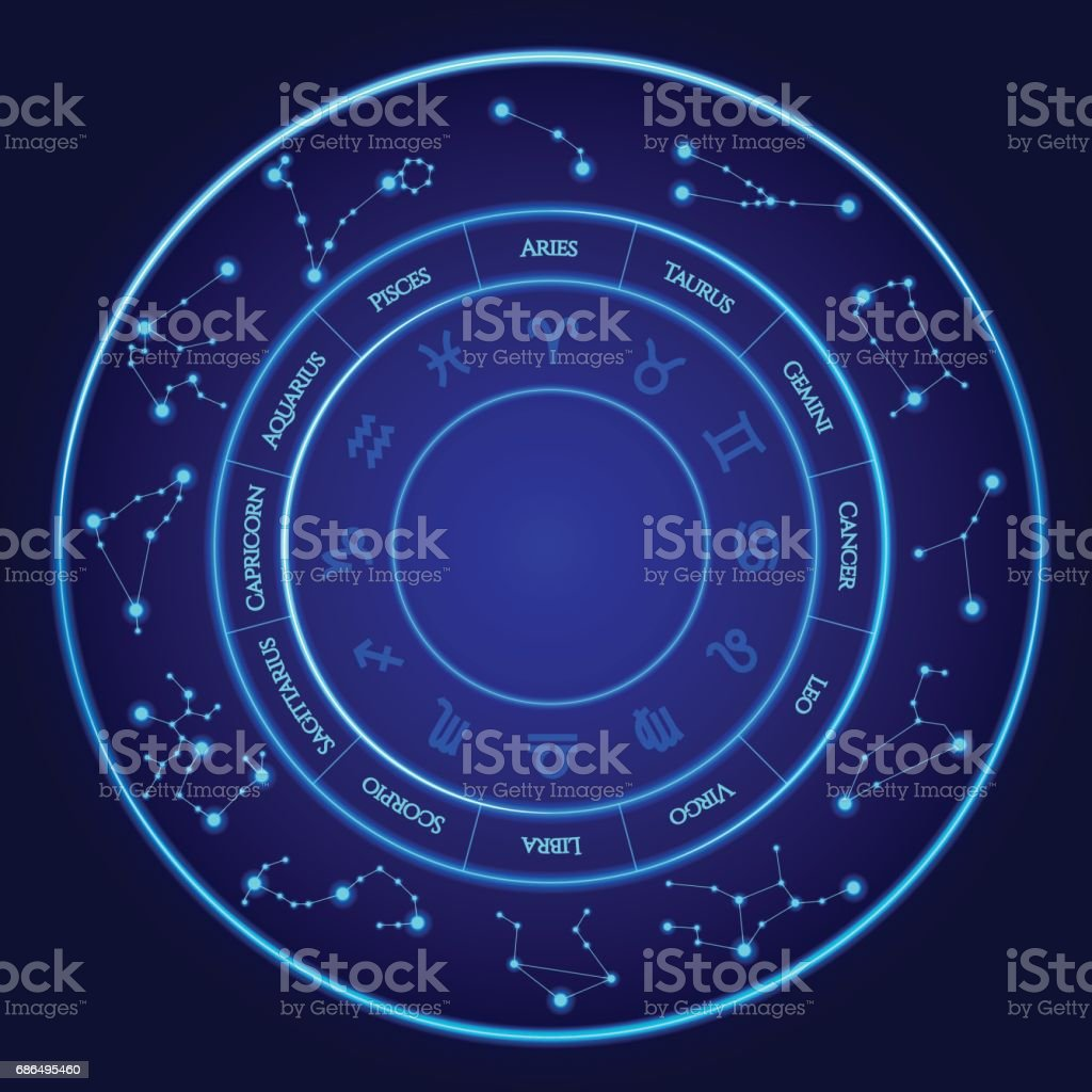 Constellations vector set twelve signs of the zodiac located in a twelve signs of the zodiac located in a circle blue neon ccuart Images