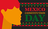 Constitution Day in Mexico. National happy holiday, celebrated annual in February 4. Mexican pattern and colors. Patriotic elements. Festival design. Poster, card, banner and background. Vector illustration