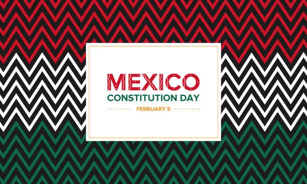墨西哥的憲法日。墨西哥的國家公共假日。節日、野餐、音樂會和街頭慶祝活動。海報、橫幅或背景。 - 獨立 幅插畫檔、美工圖案、卡通及圖標