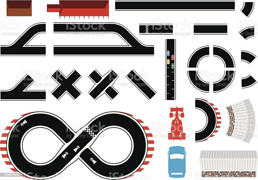 Construct-a-racetrack vector art illustration