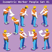 Construction Worker Collection. Blue Collar Male People in Unique Isometric Realistic Poses. NEW bright palette 3D Flat Vector Icon Set. Assemble your Own 3D World