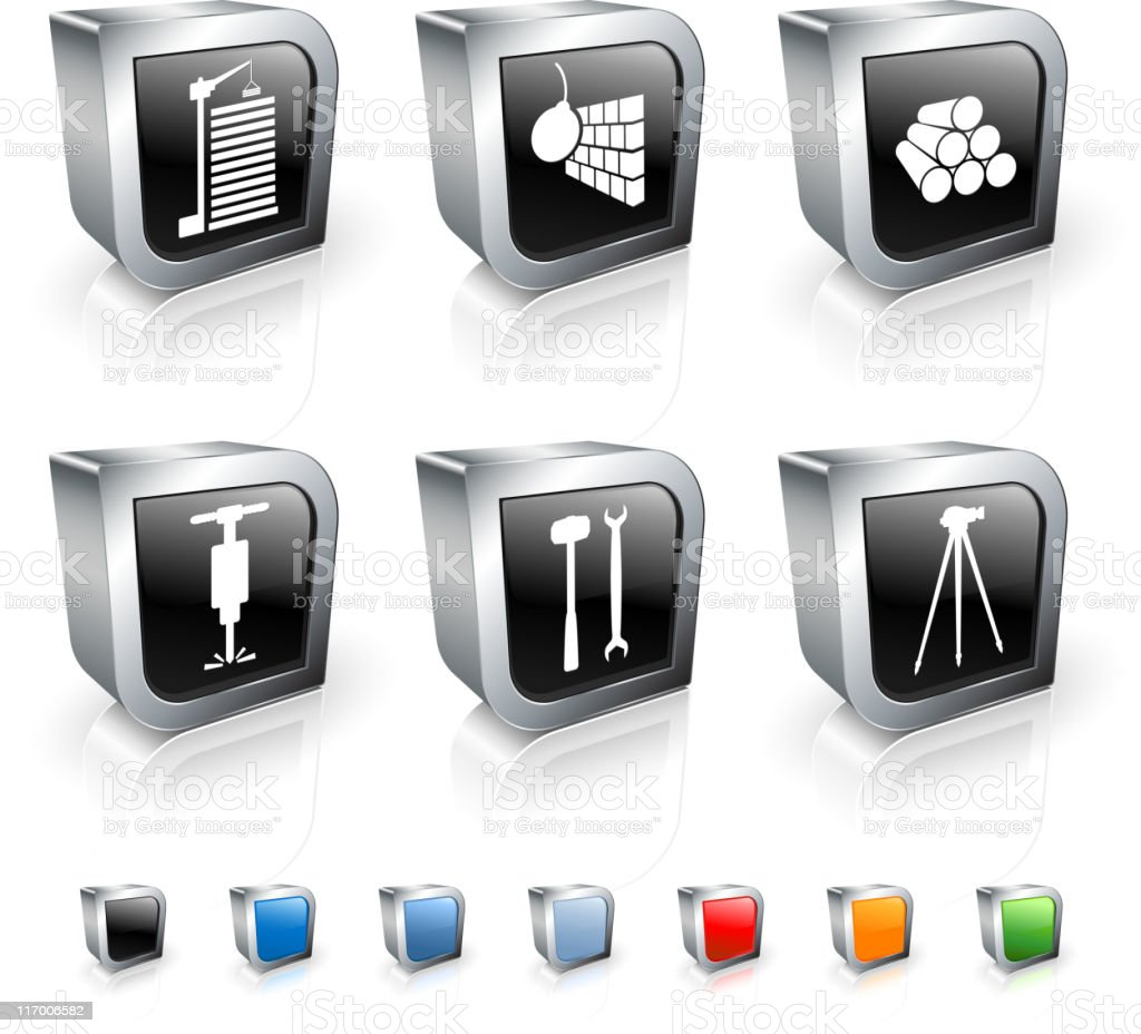 Construction 3D royalty free vector icon set royalty-free stock vector art