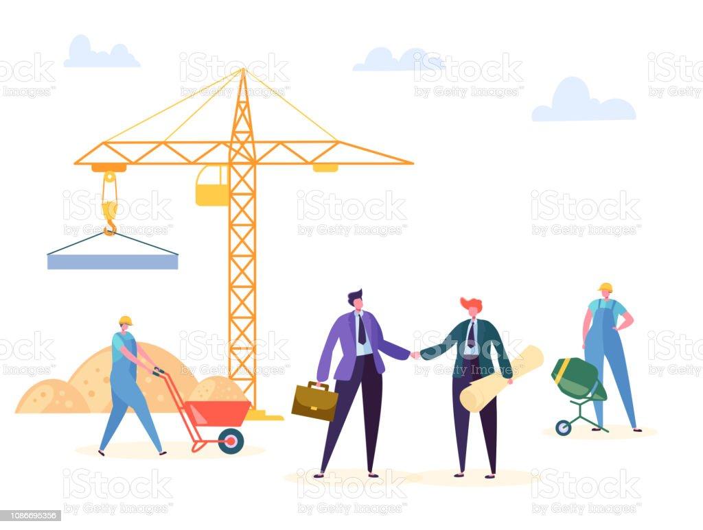Bouw overeenkomst Handshake vectorillustratie. Business Manager en ingenieur hebben partnerschap bouwcontract, Crane werknemer achtergrond. Zakenman karakter woonproject Deal Poster - Royalty-free Achtergrond - Thema vectorkunst
