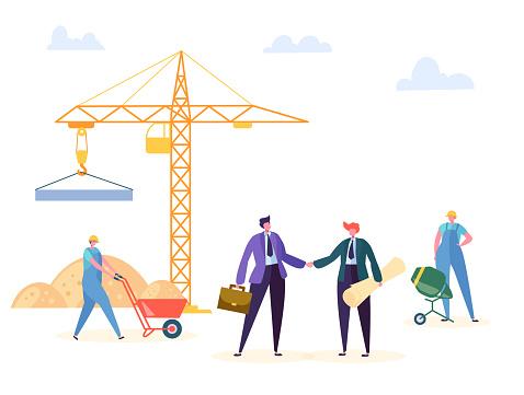 Bouw Overeenkomst Handshake Vectorillustratie Business Manager En Ingenieur Hebben Partnerschap Bouwcontract Crane Werknemer Achtergrond Zakenman Karakter Woonproject Deal Poster Stockvectorkunst en meer beelden van Achtergrond - Thema
