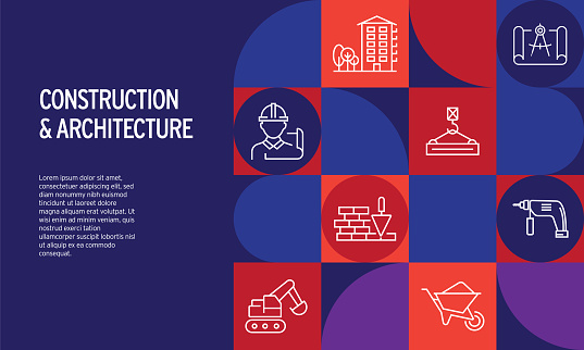 Construction and Architecture Related Design with Line Icons. Simple Outline Icons.