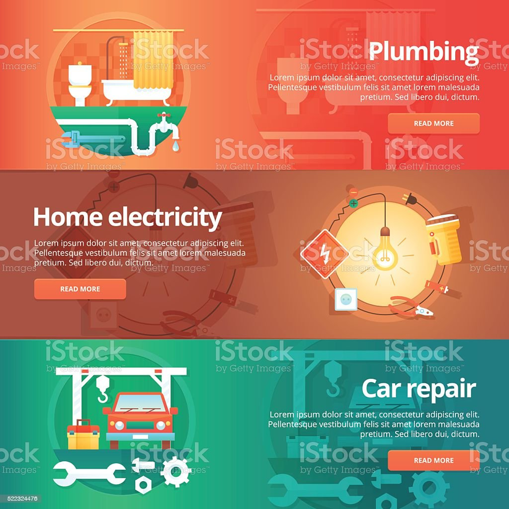 Construction and building banners set. vector art illustration