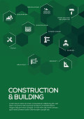 Construction and Building. Brochure Template Layout, Cover Design