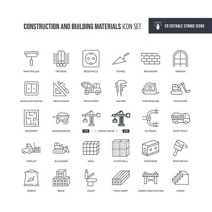 Construction and Building Materials Editable Stroke Line Icons