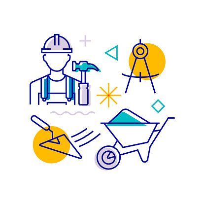 Construction and Buildings Related Design Element. Pattern Design with Outline Icons. Colorful Vector Illustration