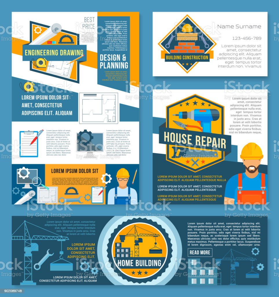 Construction and home repair banner template set