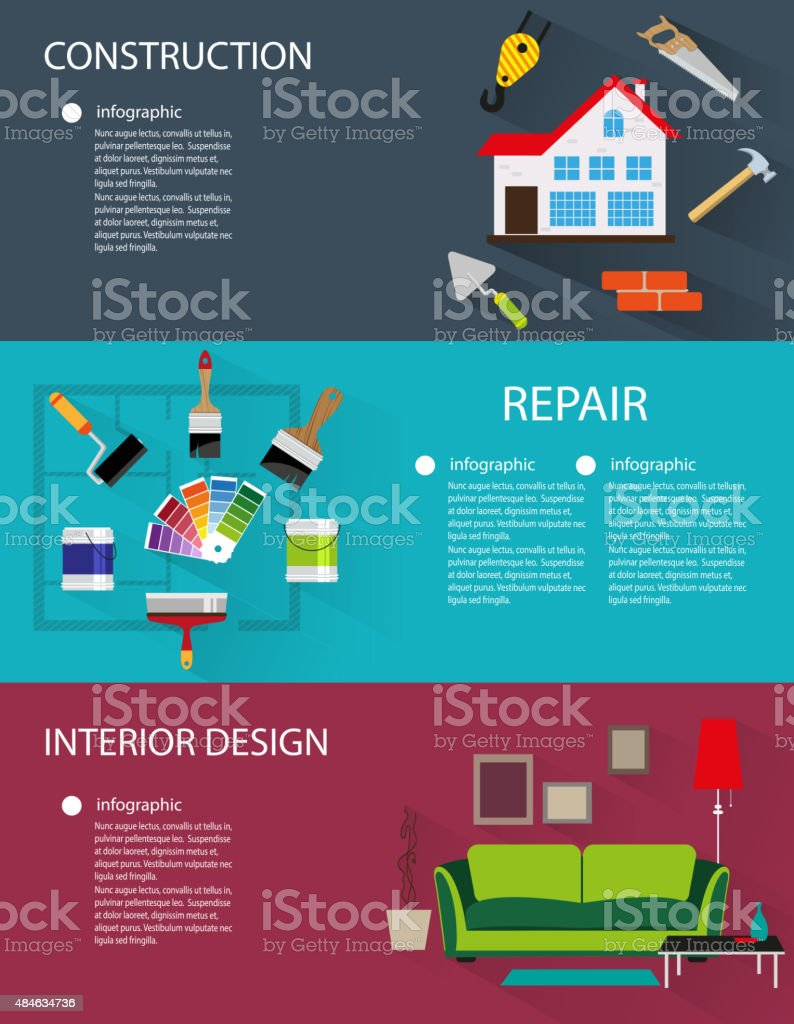 Construction and interior design banners vector art illustration
