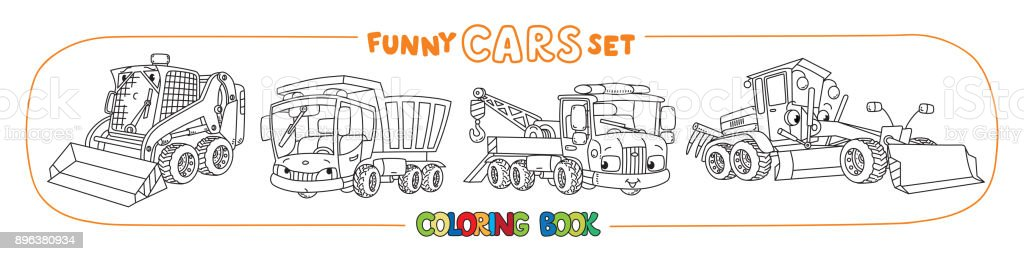 Construction and municipal cars coloring book vector art illustration